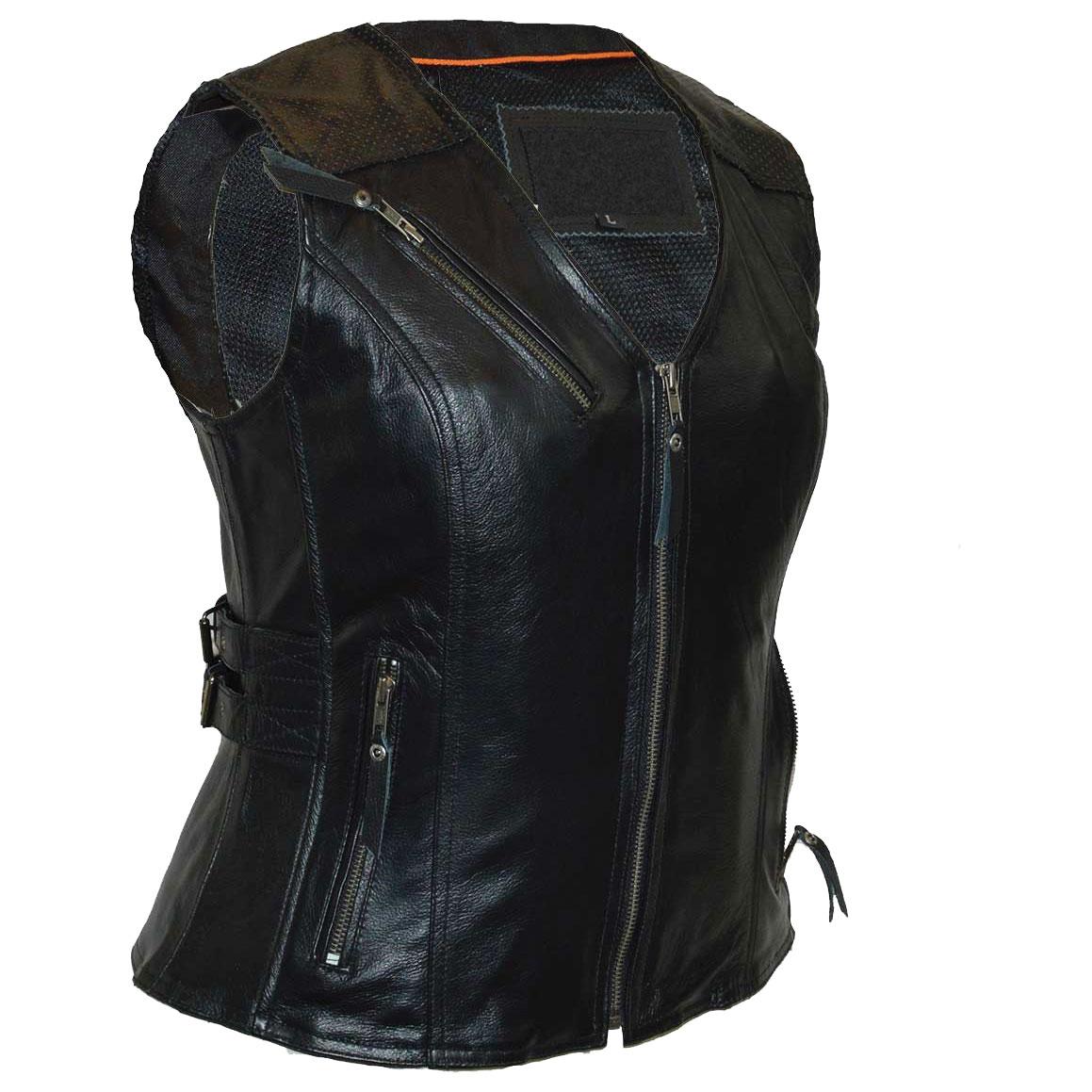 Vance Leathers Women's Buckled Black Leather Vest