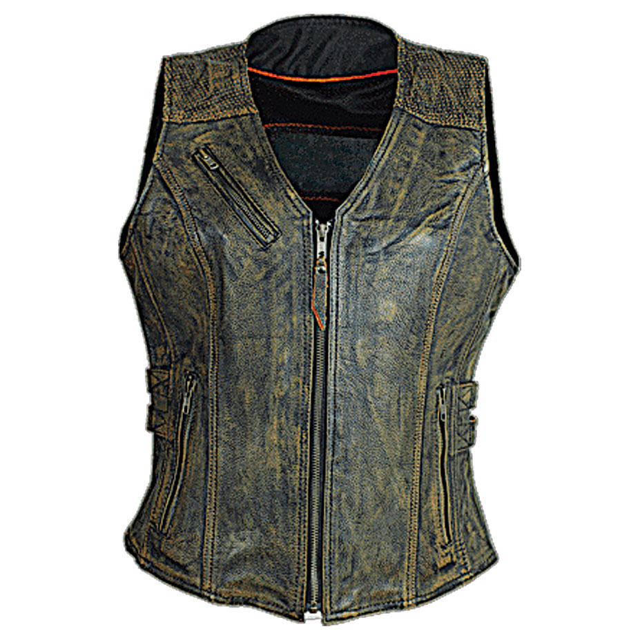 Vance Leathers Women's Buckled Distressed Brown Leather Vest