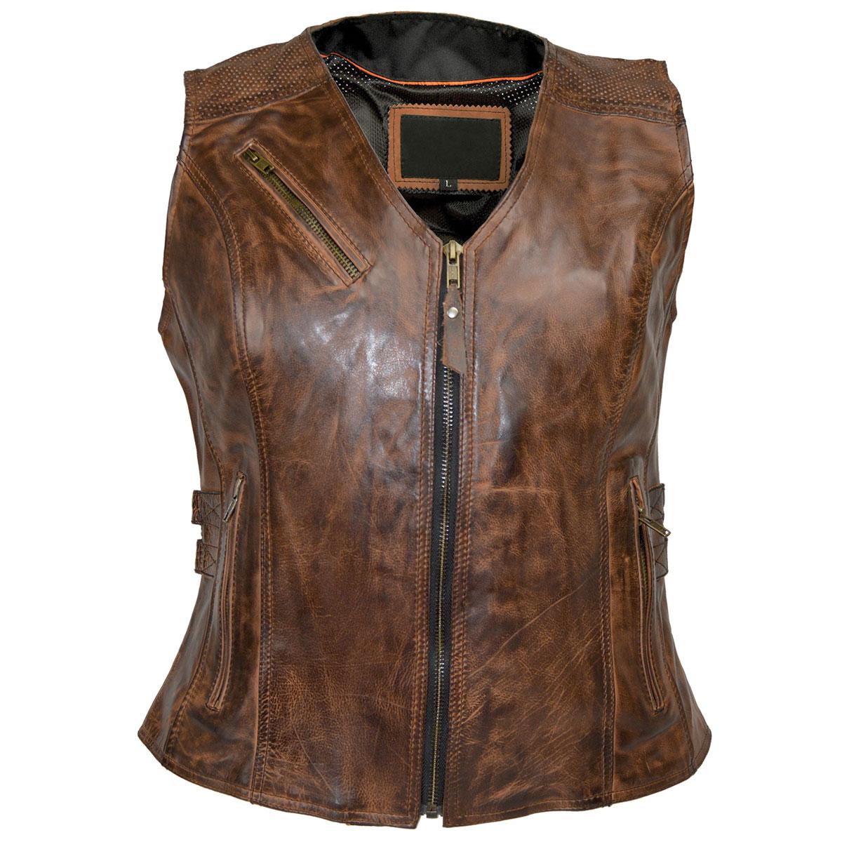 Vance Leathers Women's Buckled Vintage Brown Leather Vest
