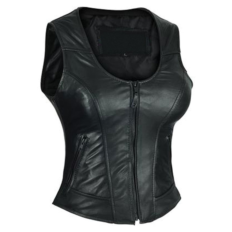 Vance Leathers Women's Plain Side Black Leather Vest