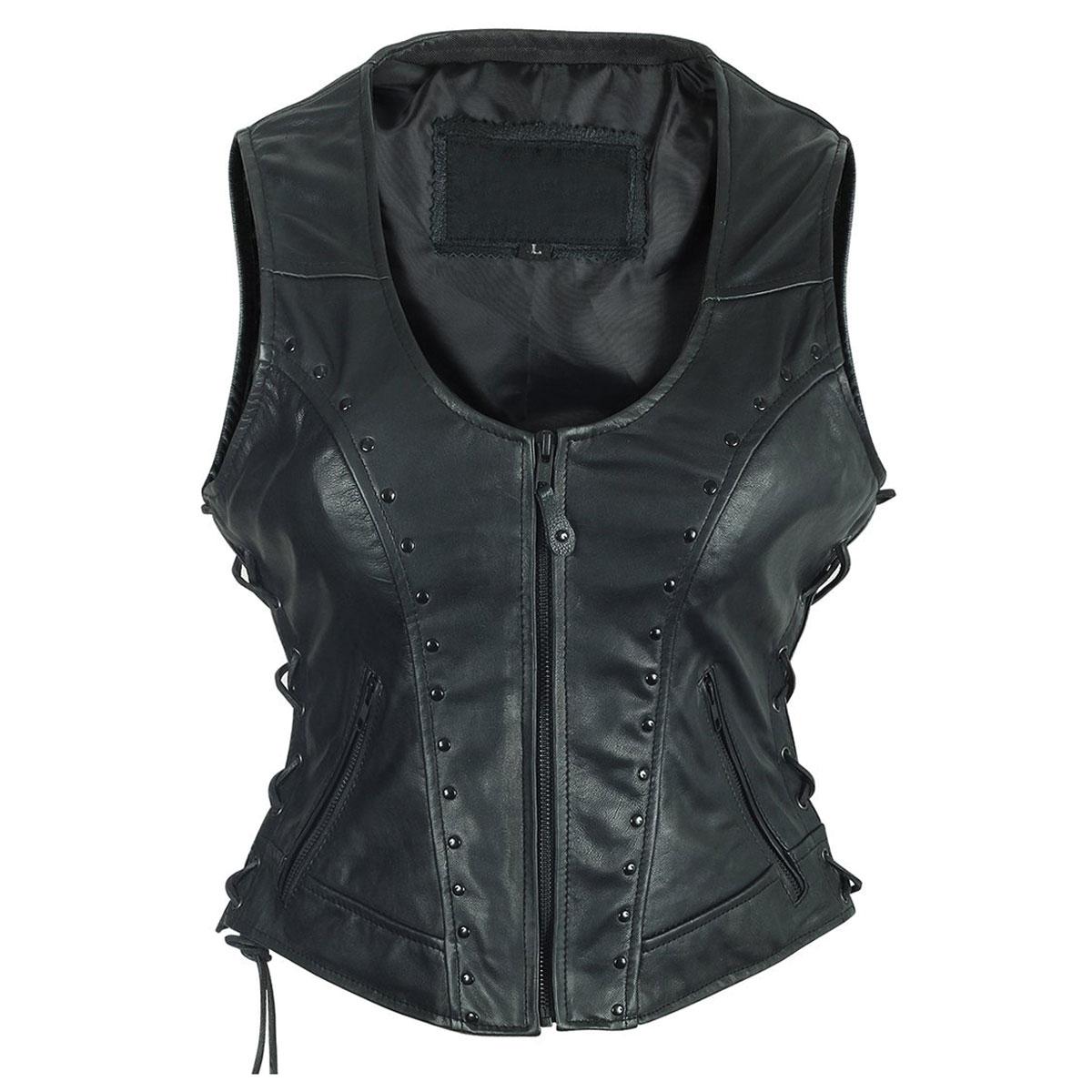 Vance Leathers Women's Studded Black Leather Vest