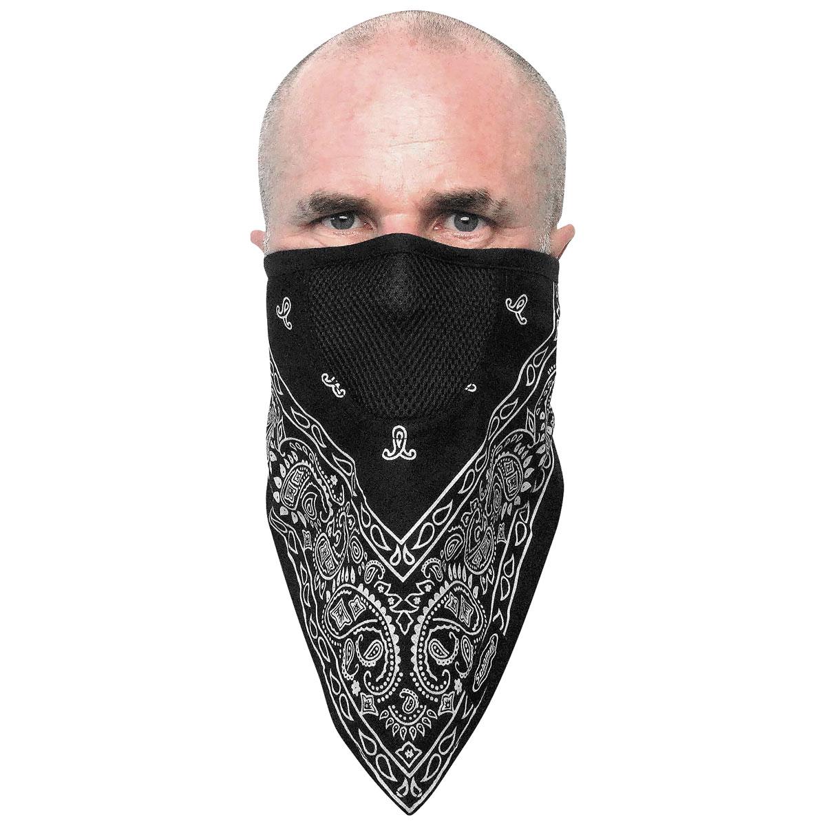 Schampa FaceFit Black Paisley Tieback Face Mask