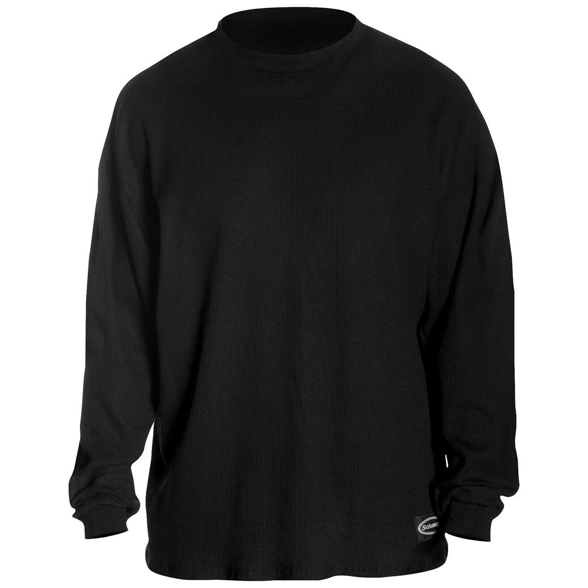 Schampa Men's Old School Fleece Lined Black Thermal Long Sleeve Shirt