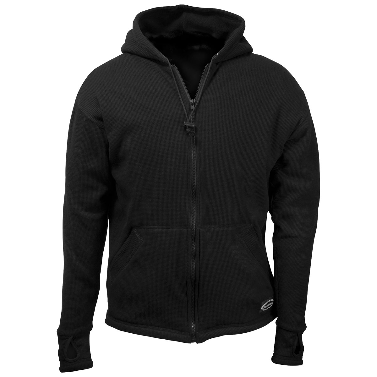 Schampa Men's Old School Solid Fleece Lined Thermal Black Hoodie