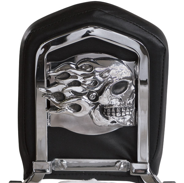 Chrome Dome Flaming  Skull Backrest Insert