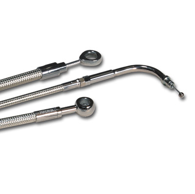 Magnum Polished Stainless Braided Rear Brake Line Kit for Dyna