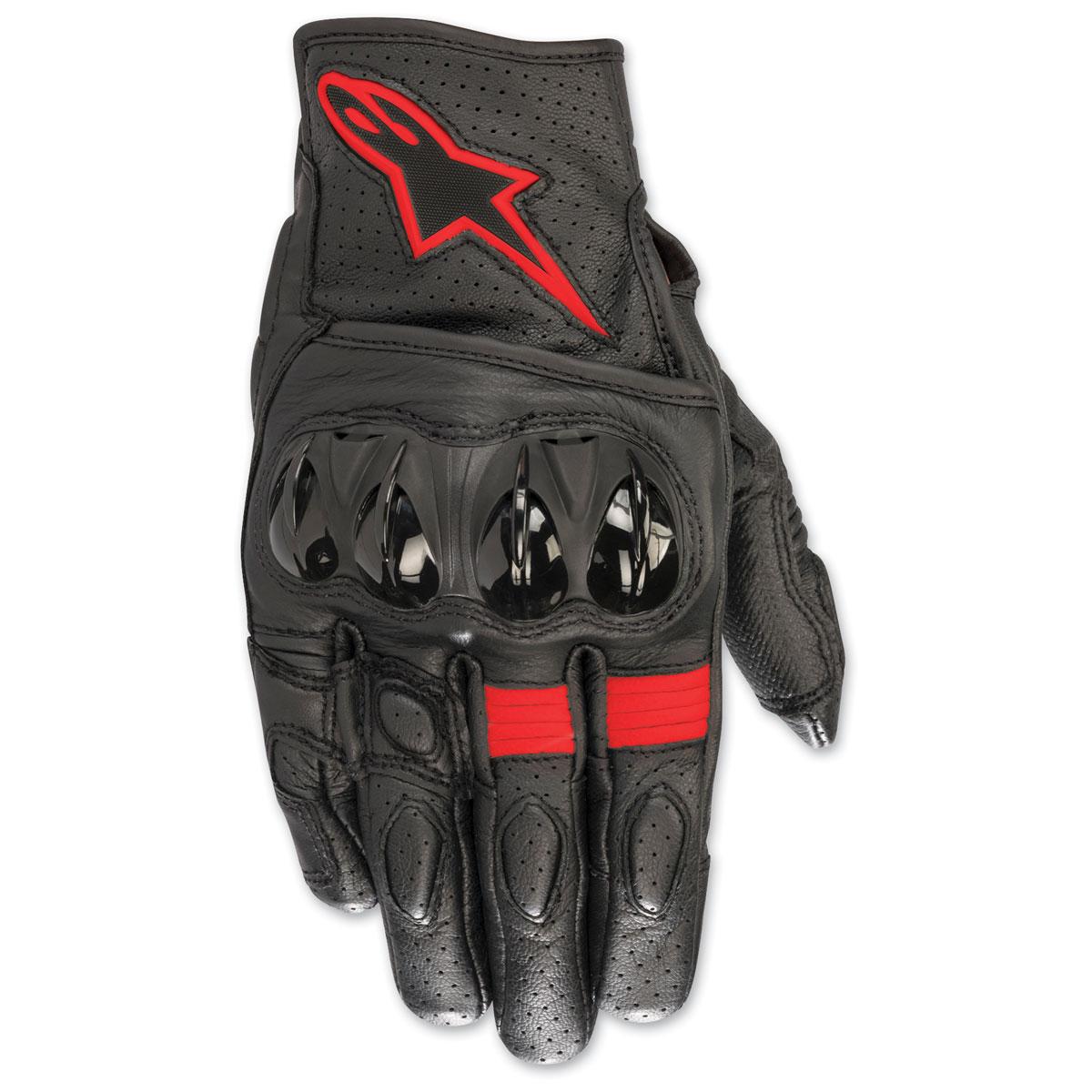 Alpinestars Men's Celer v2 Black/Red Fluorescent Leather Gloves
