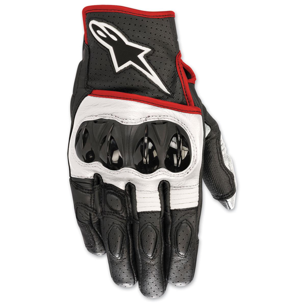 Alpinestars Men's Celer v2 Black/White/Red Fluorescent Leather Gloves