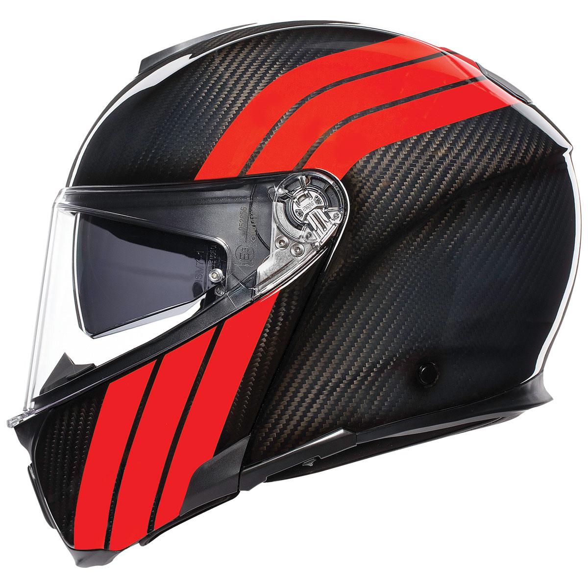 AGV Sport Modular Stripes Carbon/Red Helmet