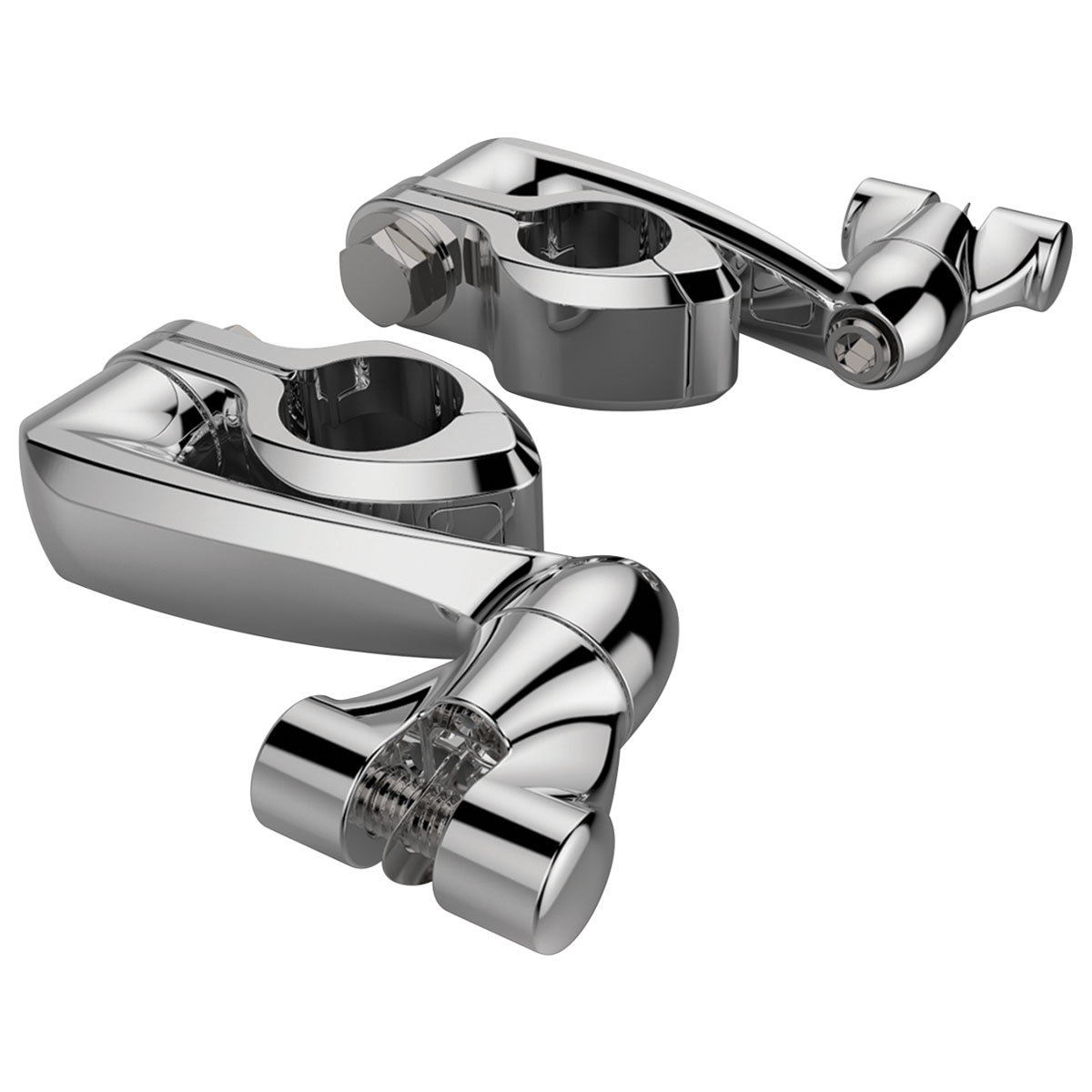 Ciro Chrome Adjustable Highway Mounts with Extension Arms