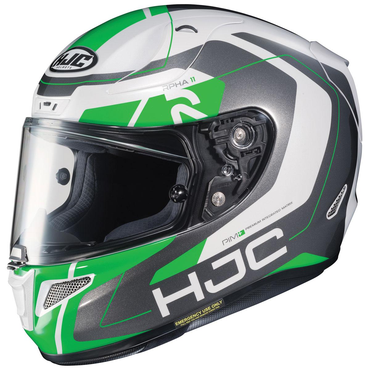 HJC RPHA 11 Pro Chakri Green/White/Silver Full Face Helmet