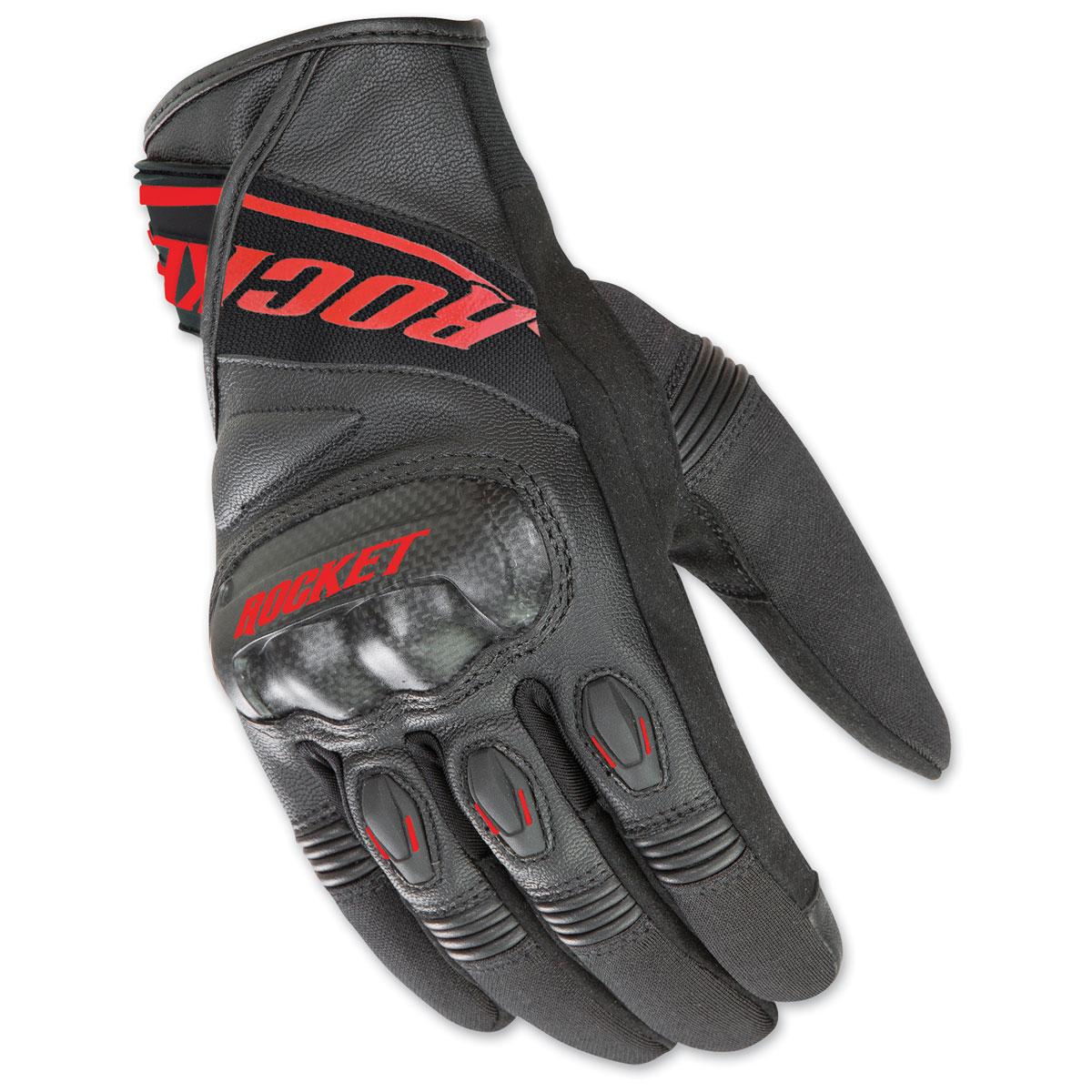Joe Rocket Men's V-Sport Black/Red Leather Gloves