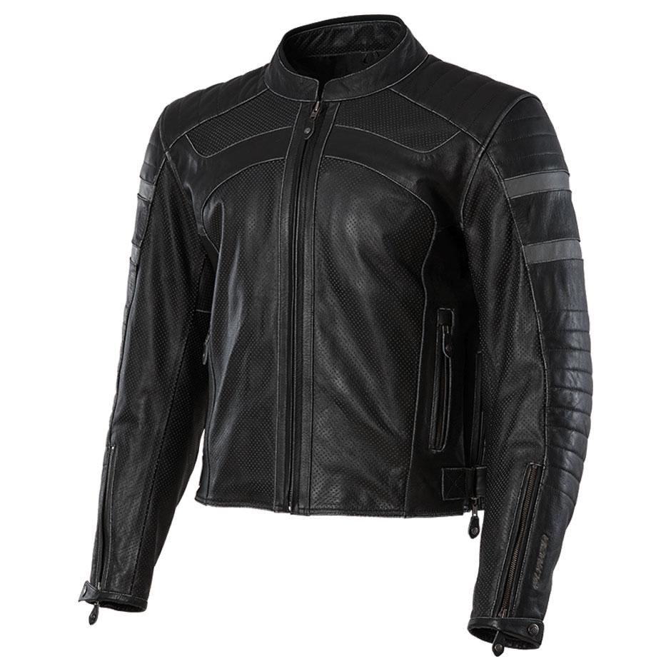 Olympia Moto Sports Men's Long Beach Black Leather Jacket