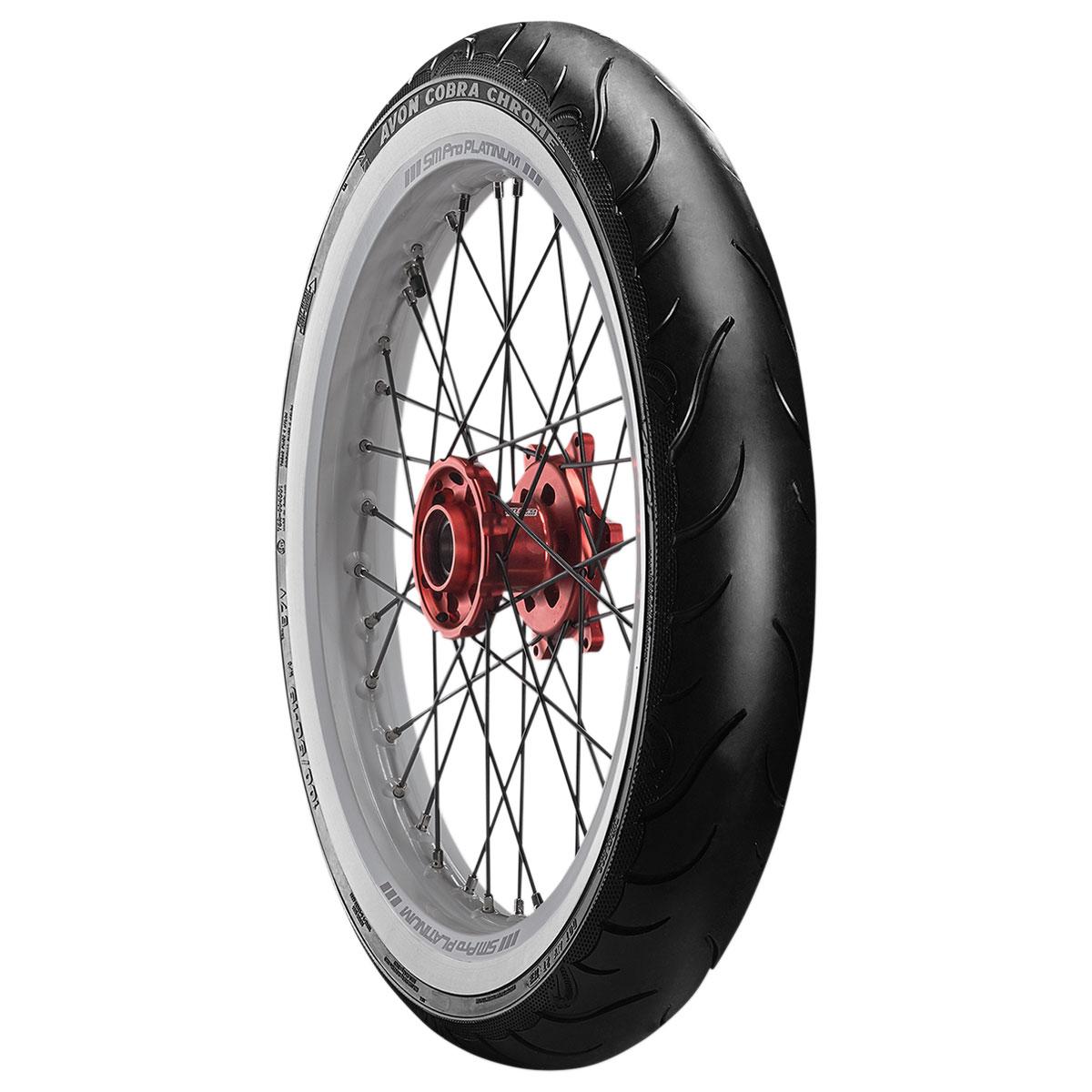Avon AV91 Cobra Chrome MT90B16 Wide Whitewall Front Tire