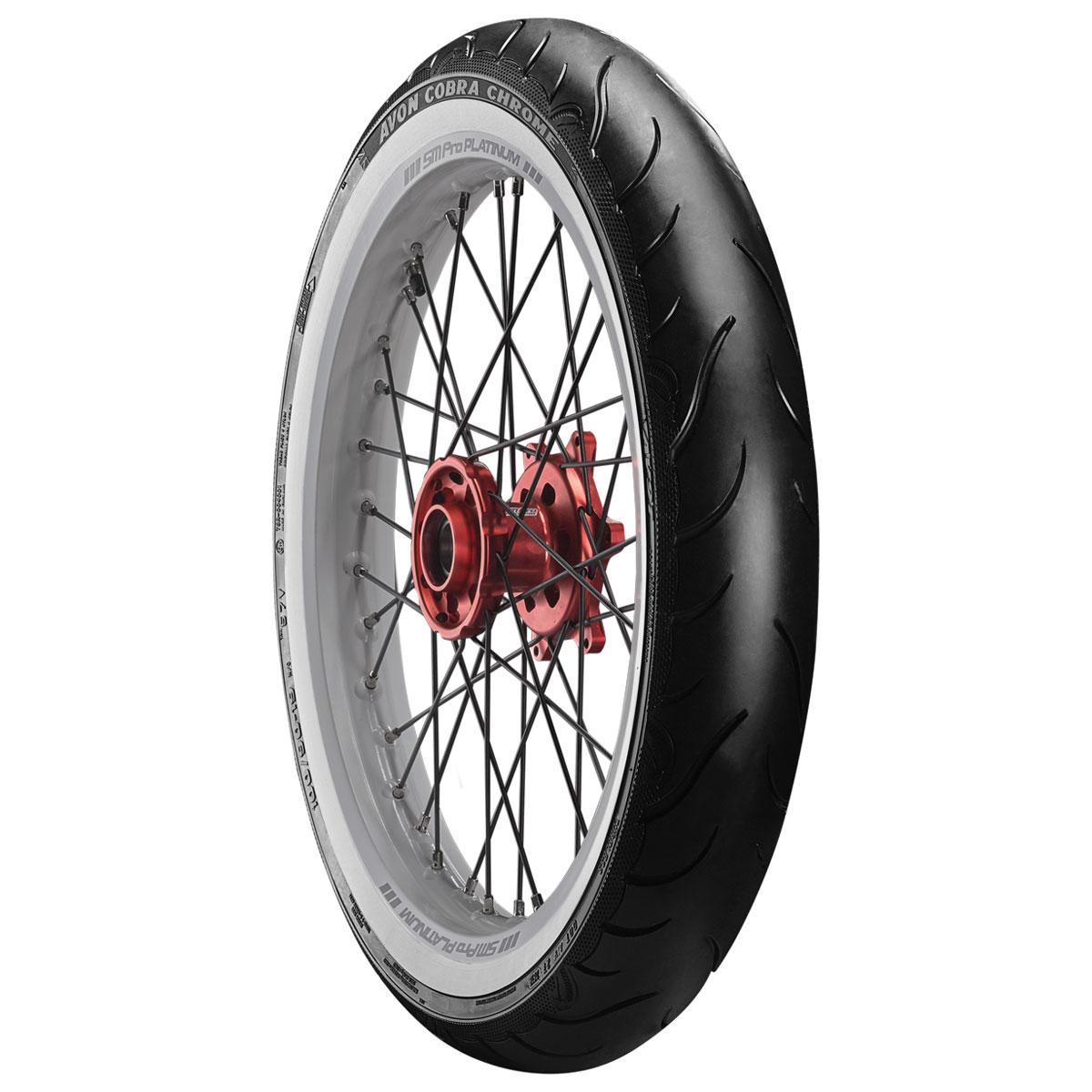 Avon AV91 Cobra Chrome 130/60VR23 Wide Whitewall Front Tire
