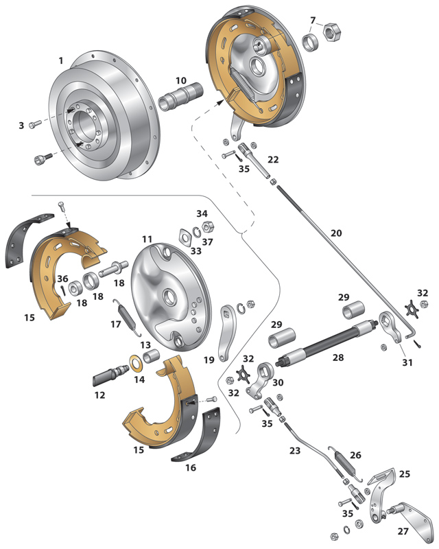 J&P Cycles® Mechanical Brake Shoe Set