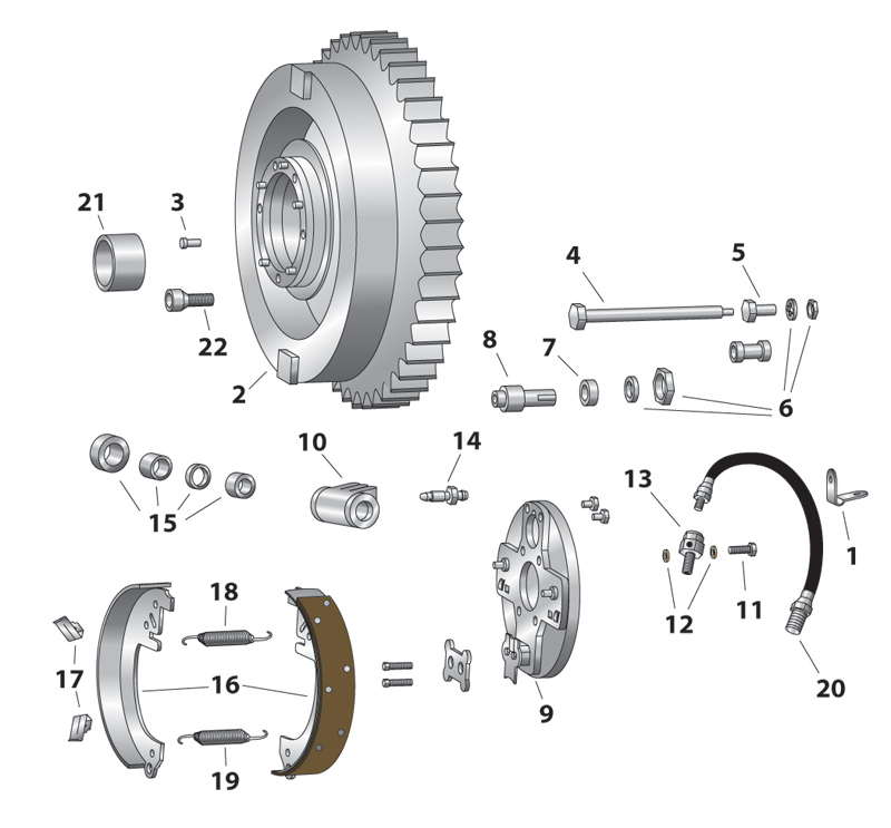 J&P Cycles® Hydraulic Rear Brake Shoe Kit