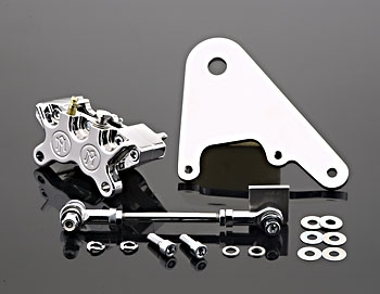 Performance Machine Chrome 4 Piston Rear Brake Caliper for Rigid Kit Custom Applications with 11.5 in Disc