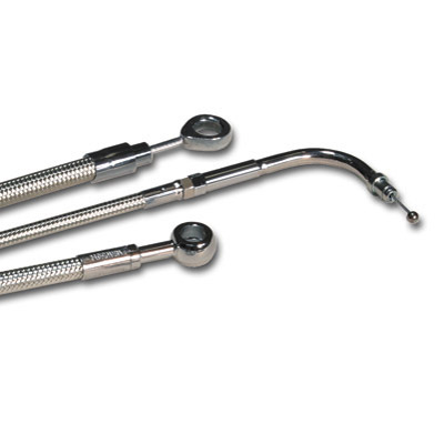 Magnum Polished Stainless Braided Rear Brake Line Kit for Softail