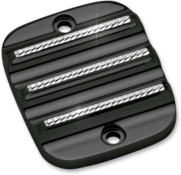 Covingtons Customs Brake Master Cylinder Cover with Black Diamond Cut Edges