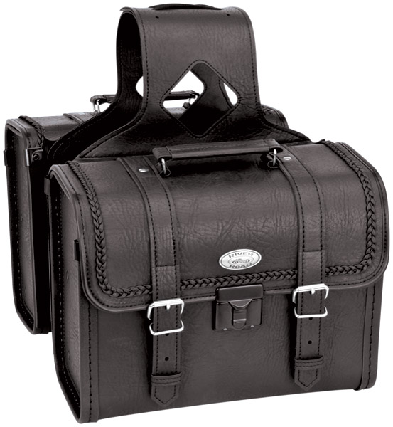 River Road Rigid Zip-Off Box Braided Saddlebags with Security Lock