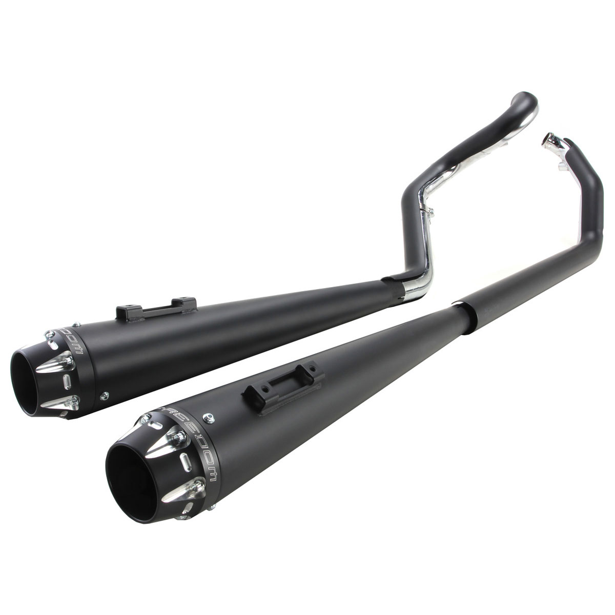 Freedom HD00289 Exhaust American Outlaw Dual System Chrome With Black Tip