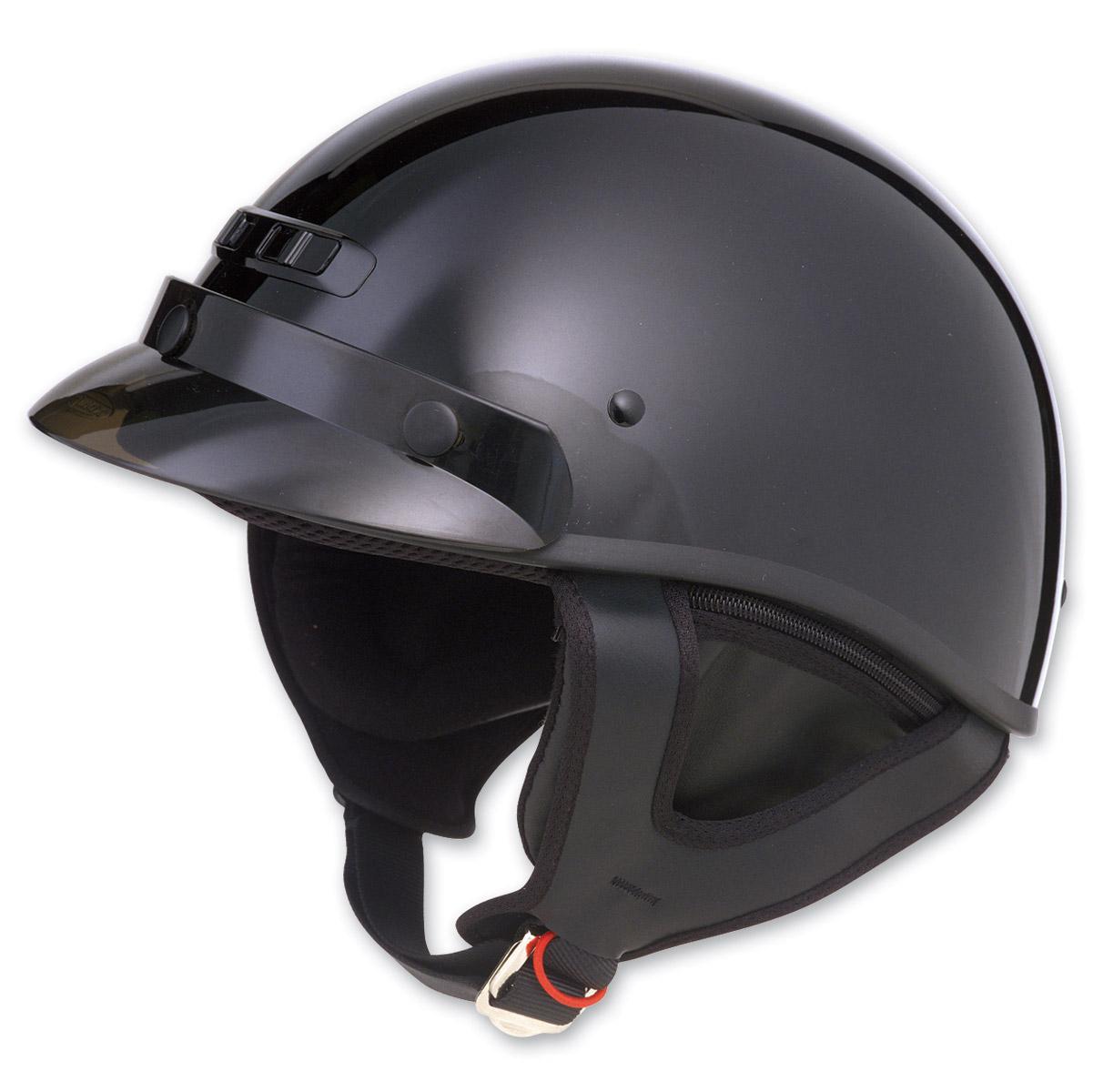 GMAX GM35 Fully Dressed Black Half Helmet