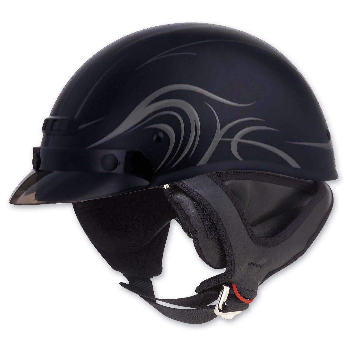 GMAX GM35 Fully Dressed Derk Flat Black Half Helmet
