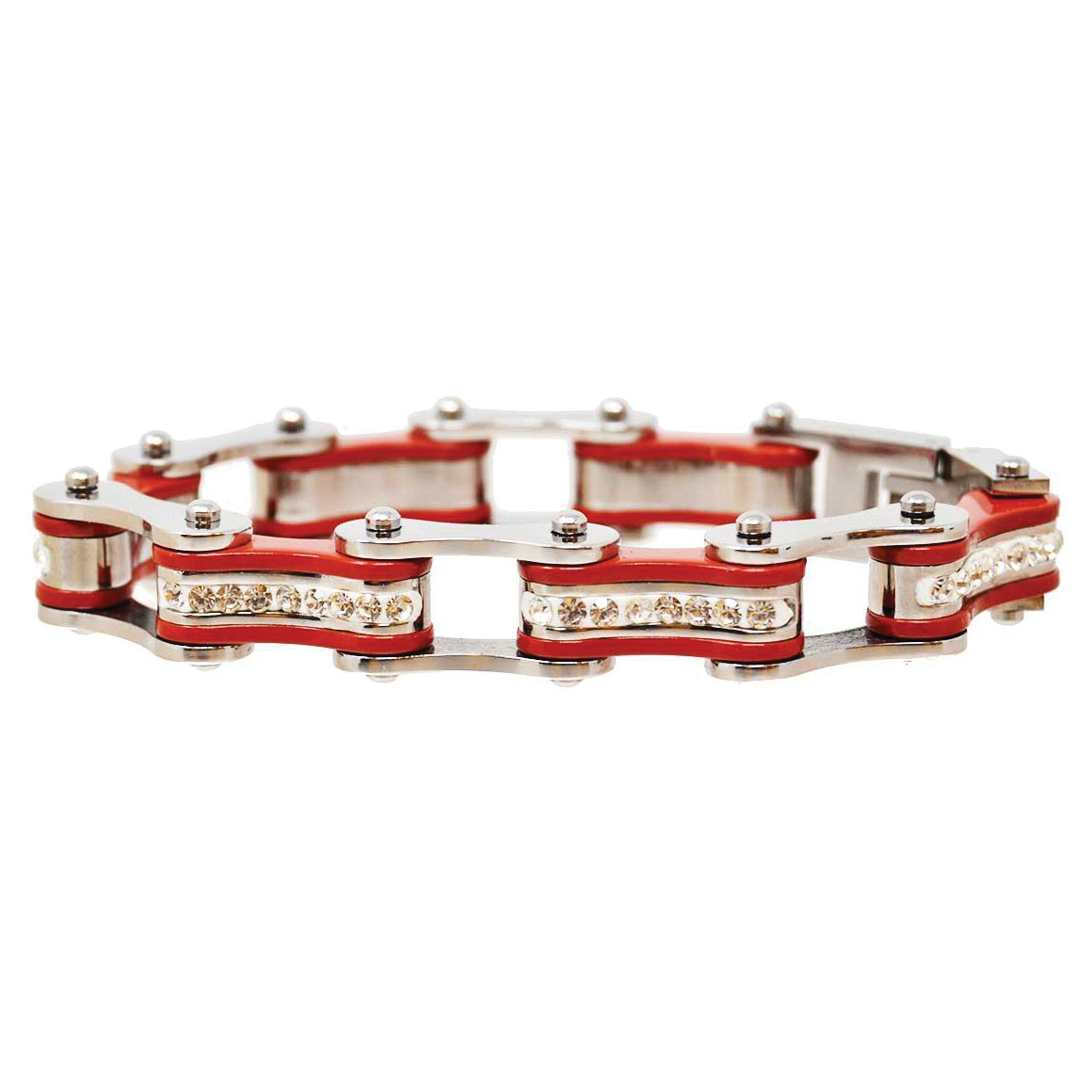 Vance Leathers Silver/Red Bracelet with Crystal Links