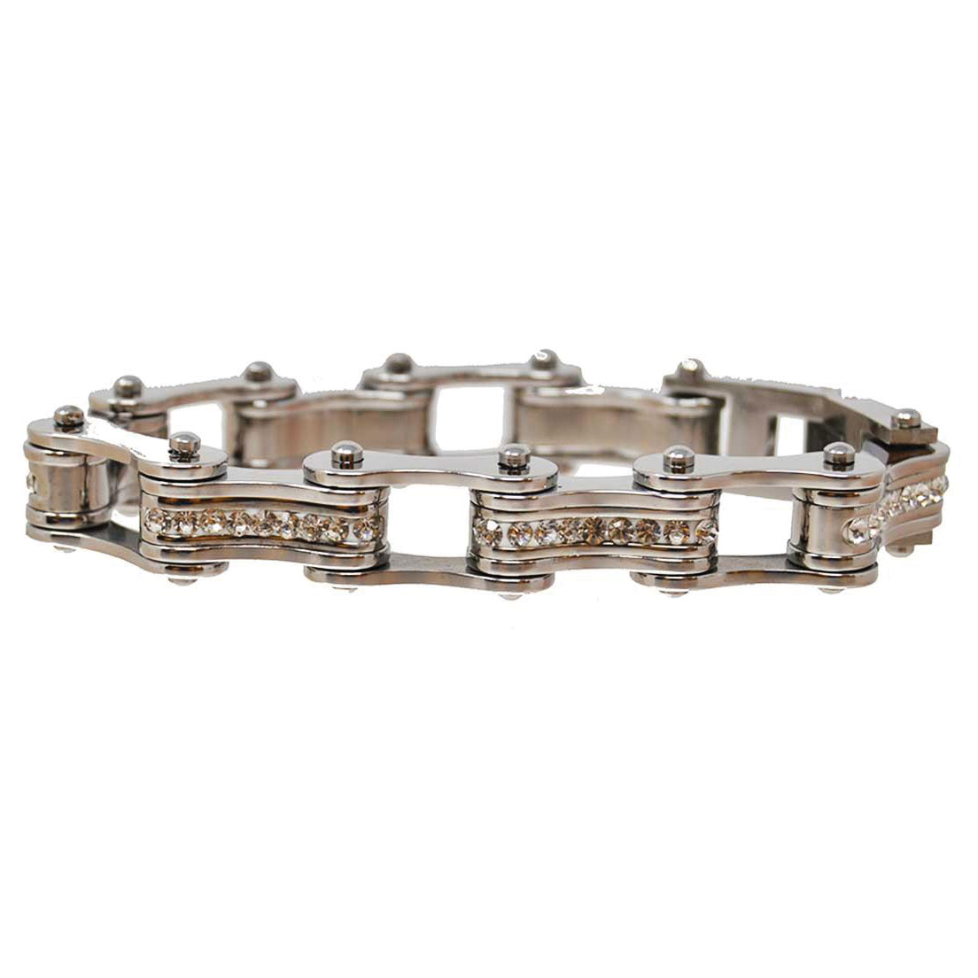 Vance Leathers Silver Bracelet with Crystal Links