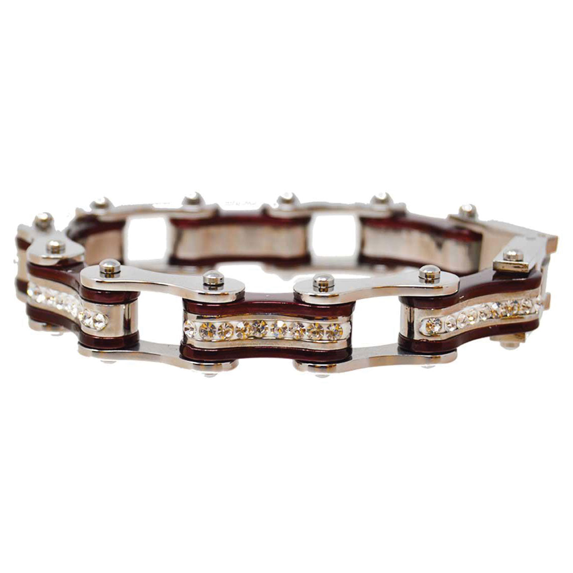 Vance Leathers Silver/Candy Red Bracelet with Crystal Links
