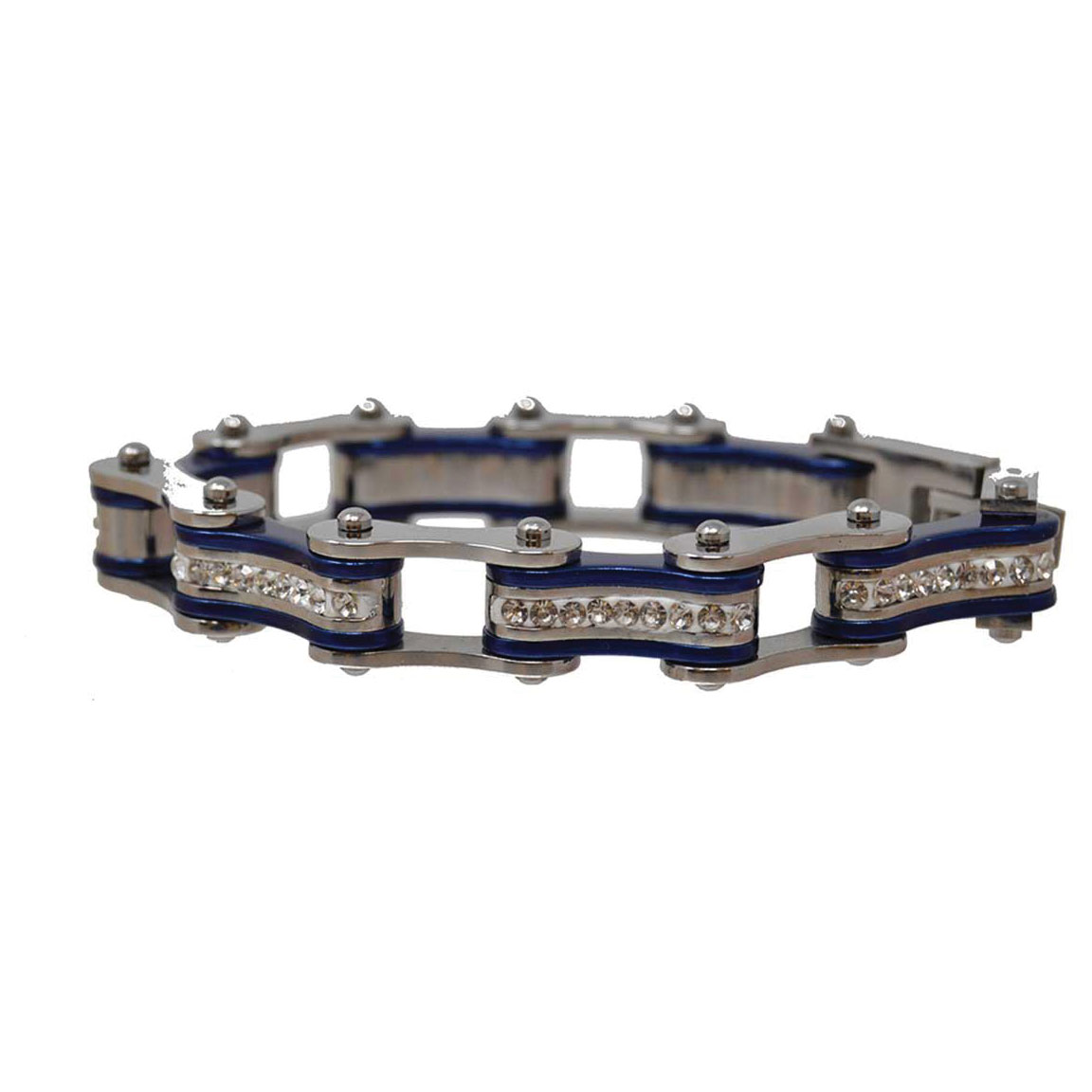 Vance Leathers Silver/Dark Blue Bracelet with Crystal Links