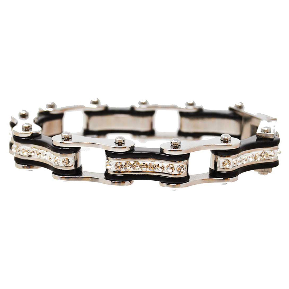 Vance Leathers Silver/Black Bracelet with Crystal Links