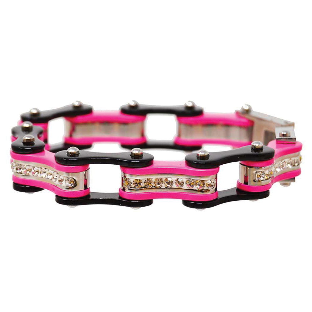 Vance Leathers Black/Pink Bracelet with Crystal Links