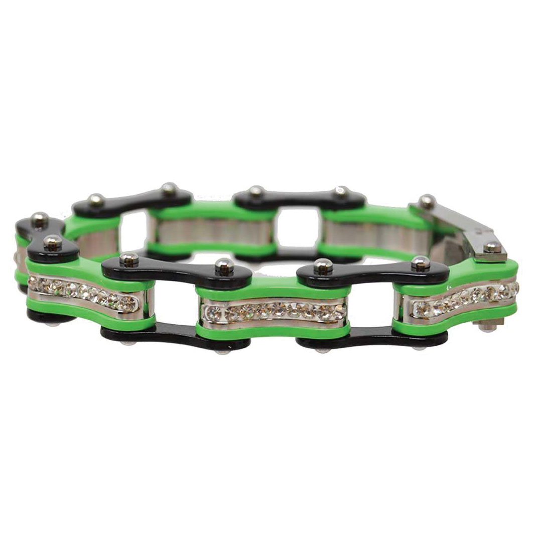 Vance Leathers Black/Lime Green Bracelet with Crystal Links