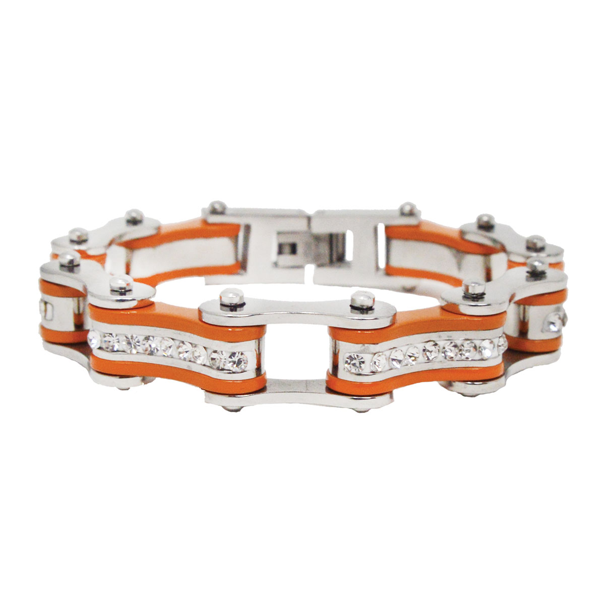 Vance Leathers Silver/Orange Bracelet with Crystal Links