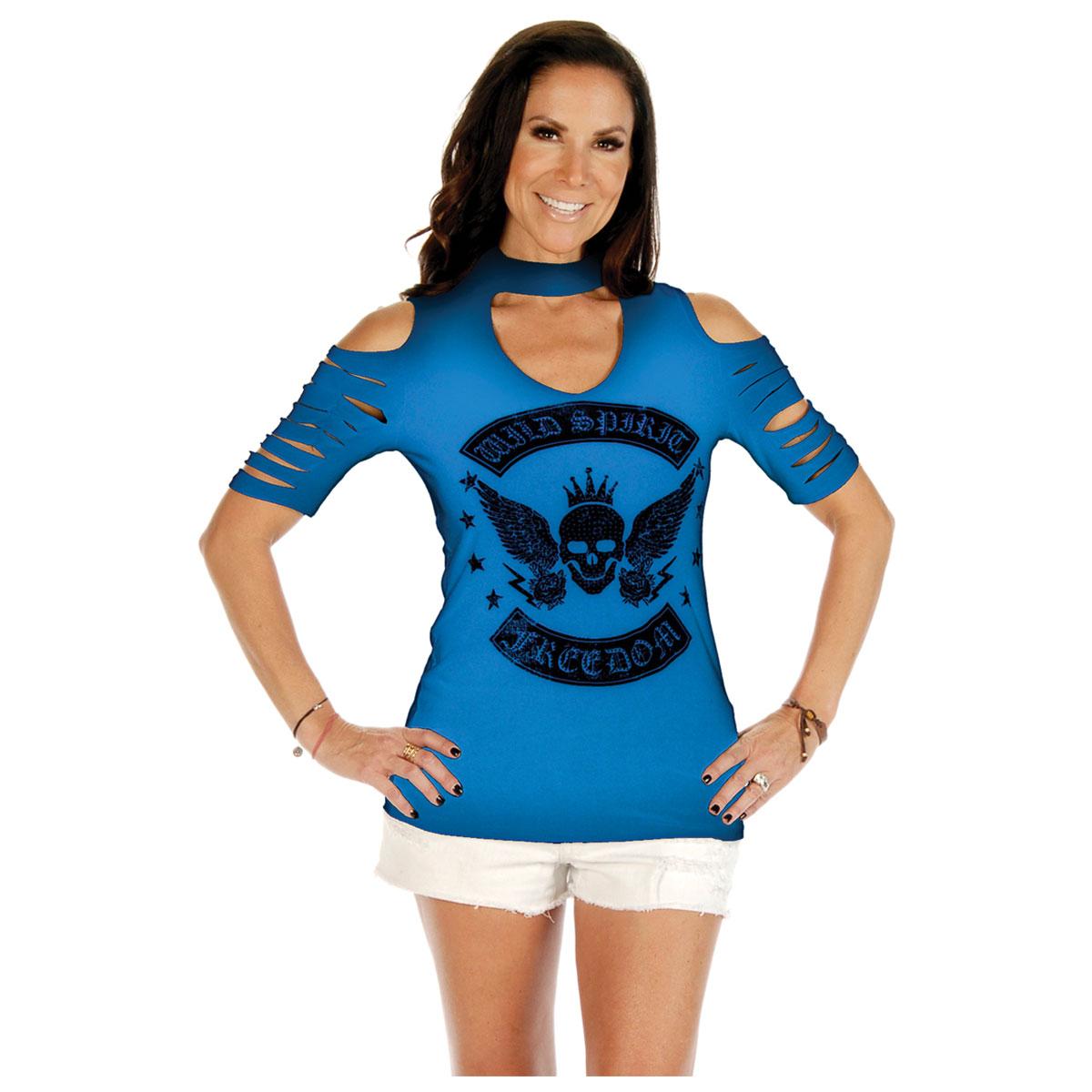 Liberty Wear Women's Wild Spirt Skull Cobalt Tee
