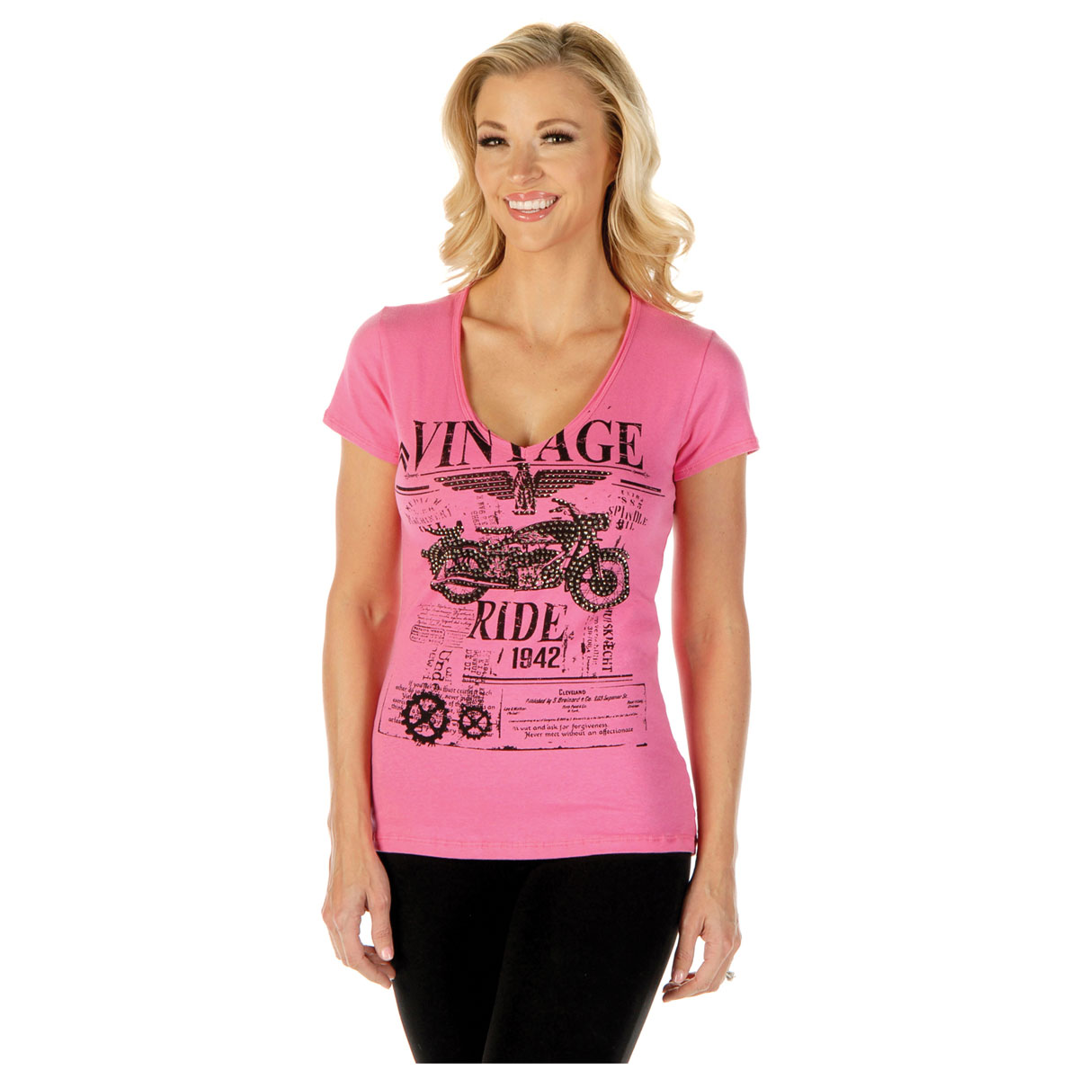 Liberty Wear Women's Vintage Ride Pink Tee