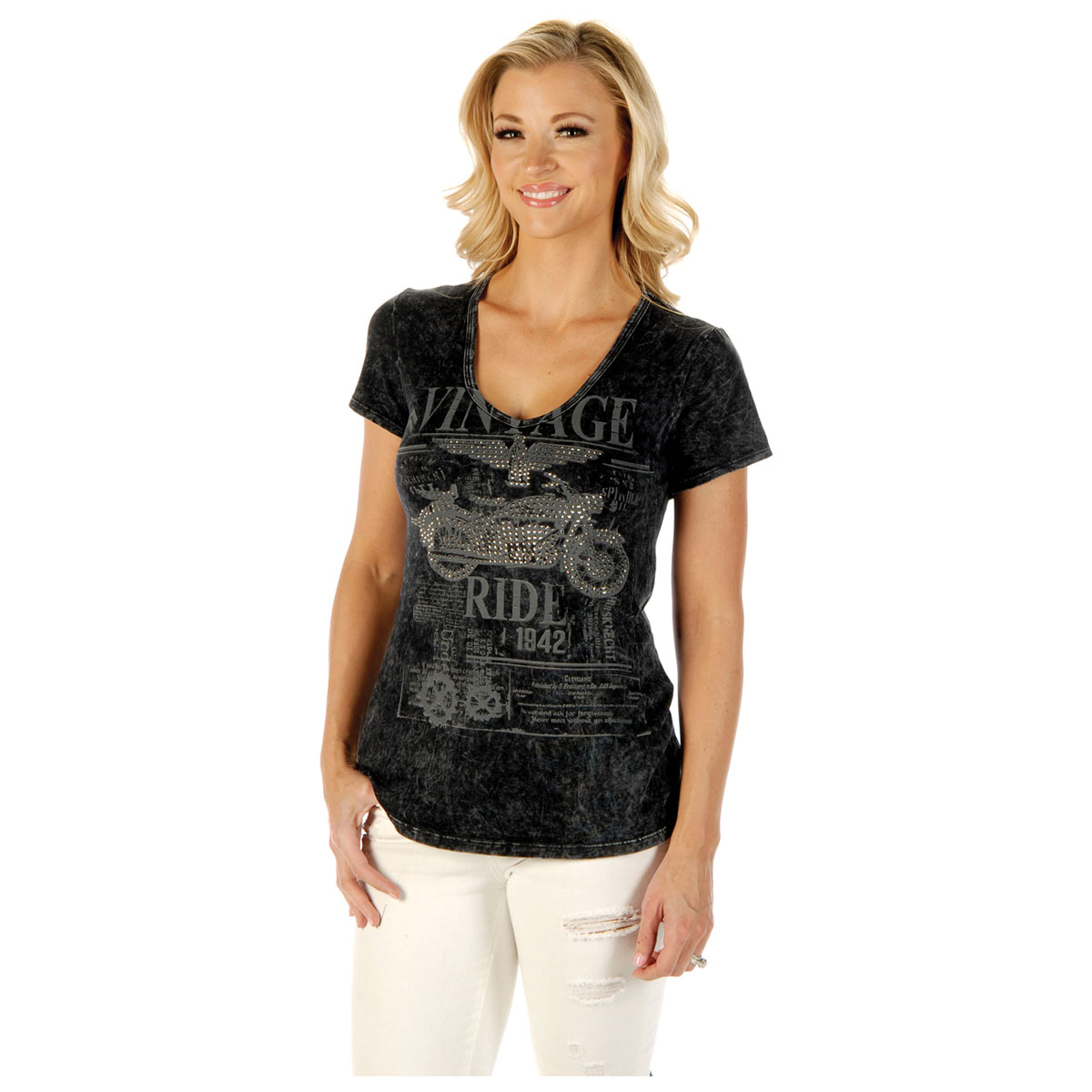 Liberty Wear Women's Vintage Ride Gray Tee