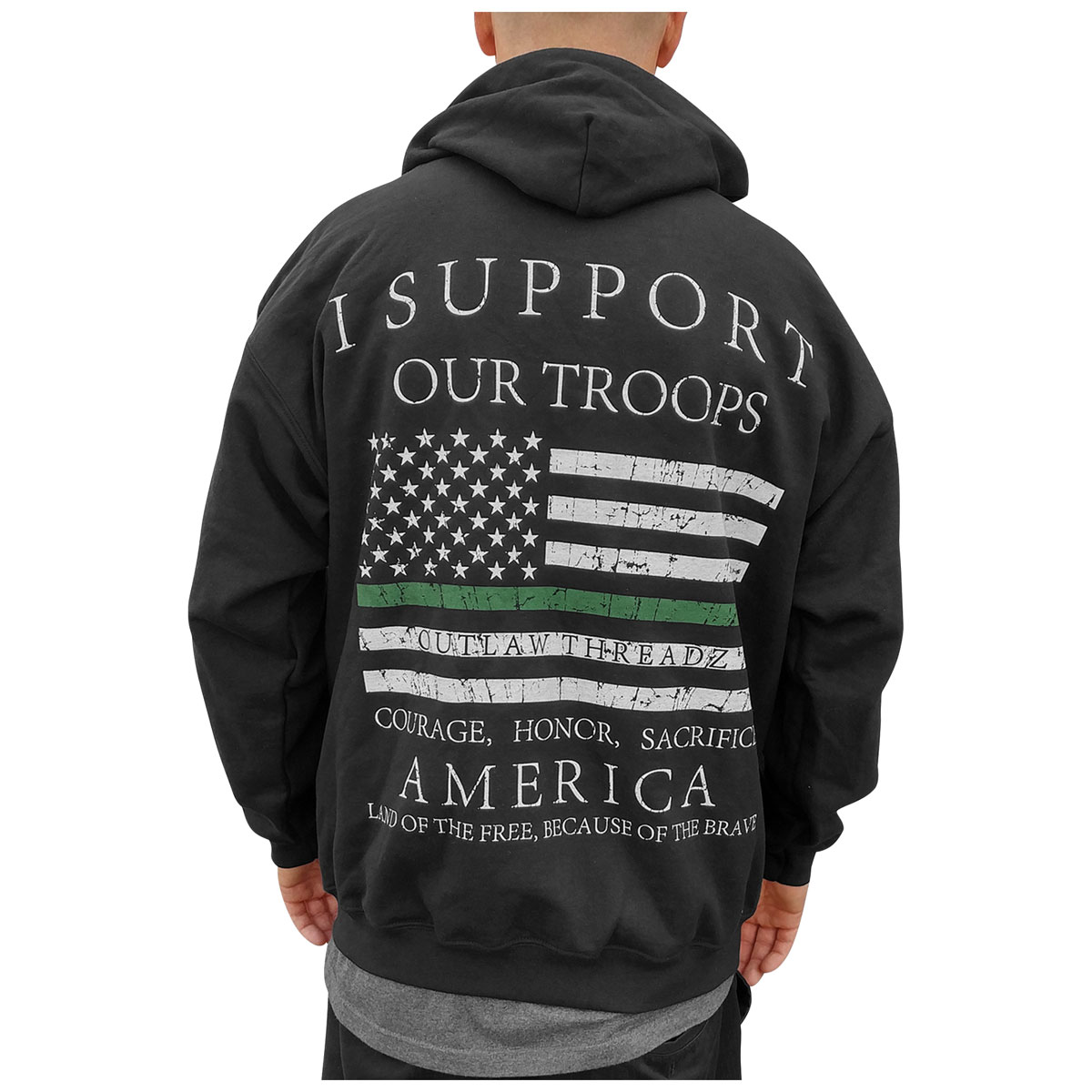 new product 22d83 120c3 Outlaw Threadz Men's Thin Green Line Black Hoodie - MZ21-3XL