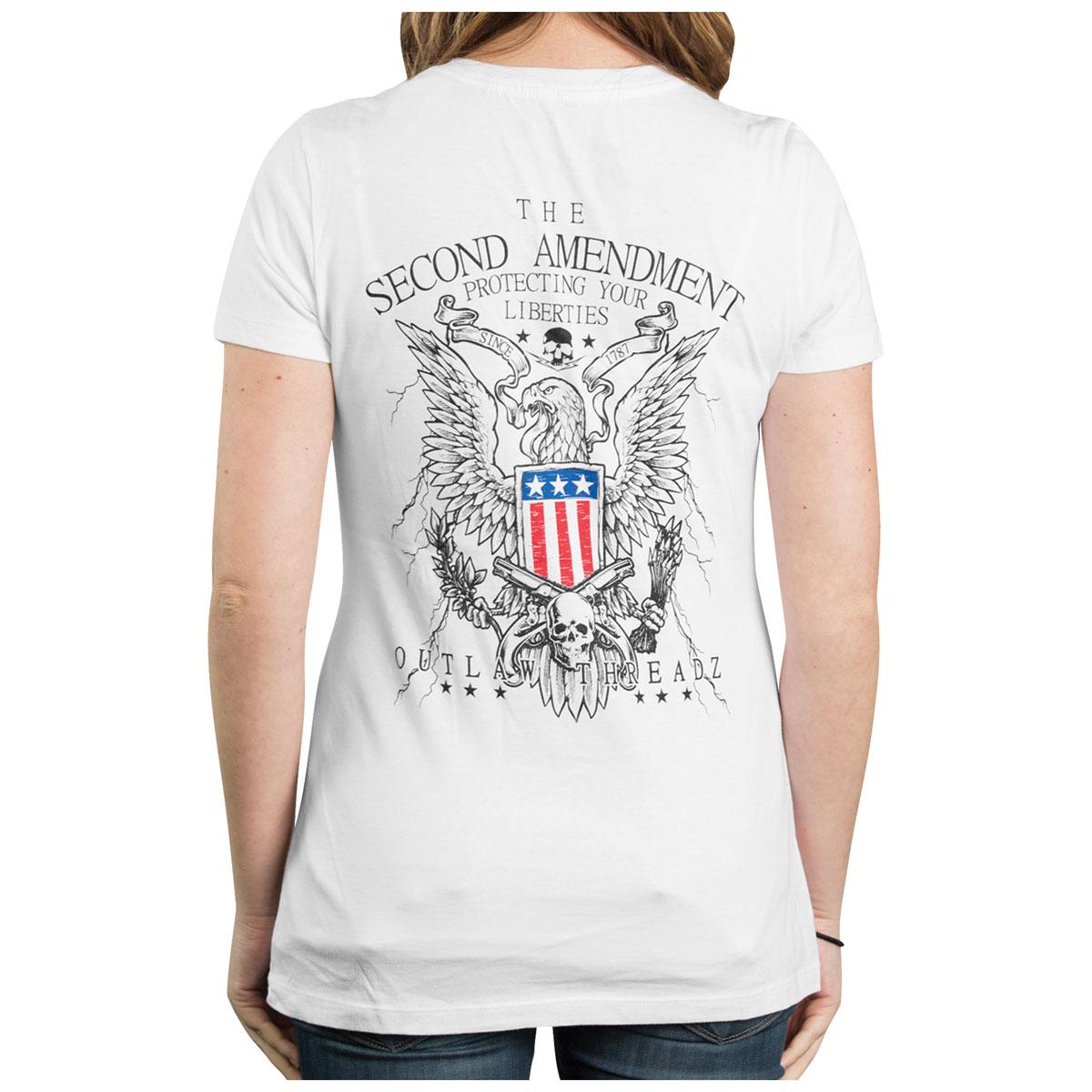 Outlaw Threadz Women's 2nd Amendment White V-neck T-Shirt