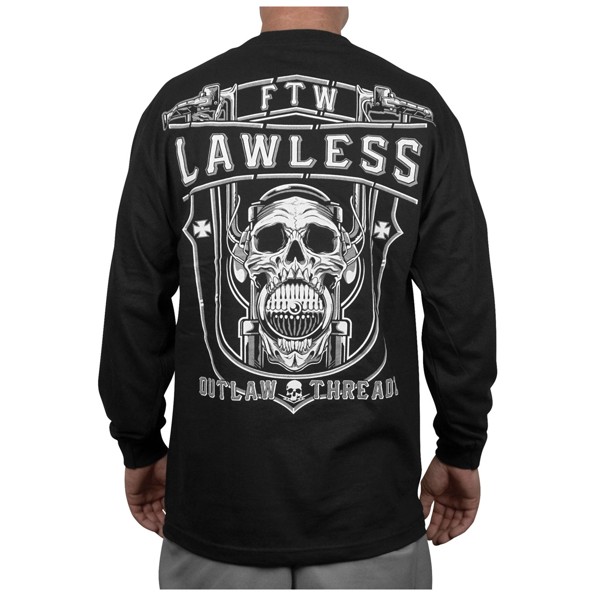 Outlaw Threadz Men's Lawless Black Long-Sleeve T-Shirt