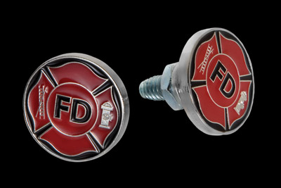 CAT LLC Fire Department Black Logo License Plate Bolts