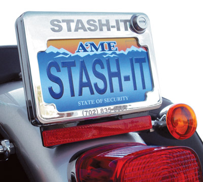Stash-it Chrome/Black License Plate Frame