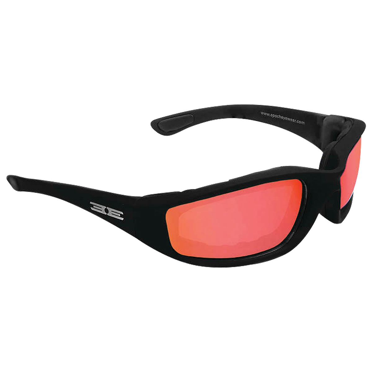 Epoch Eyewear Foam Black Sunglasses with Red Mirror Lens