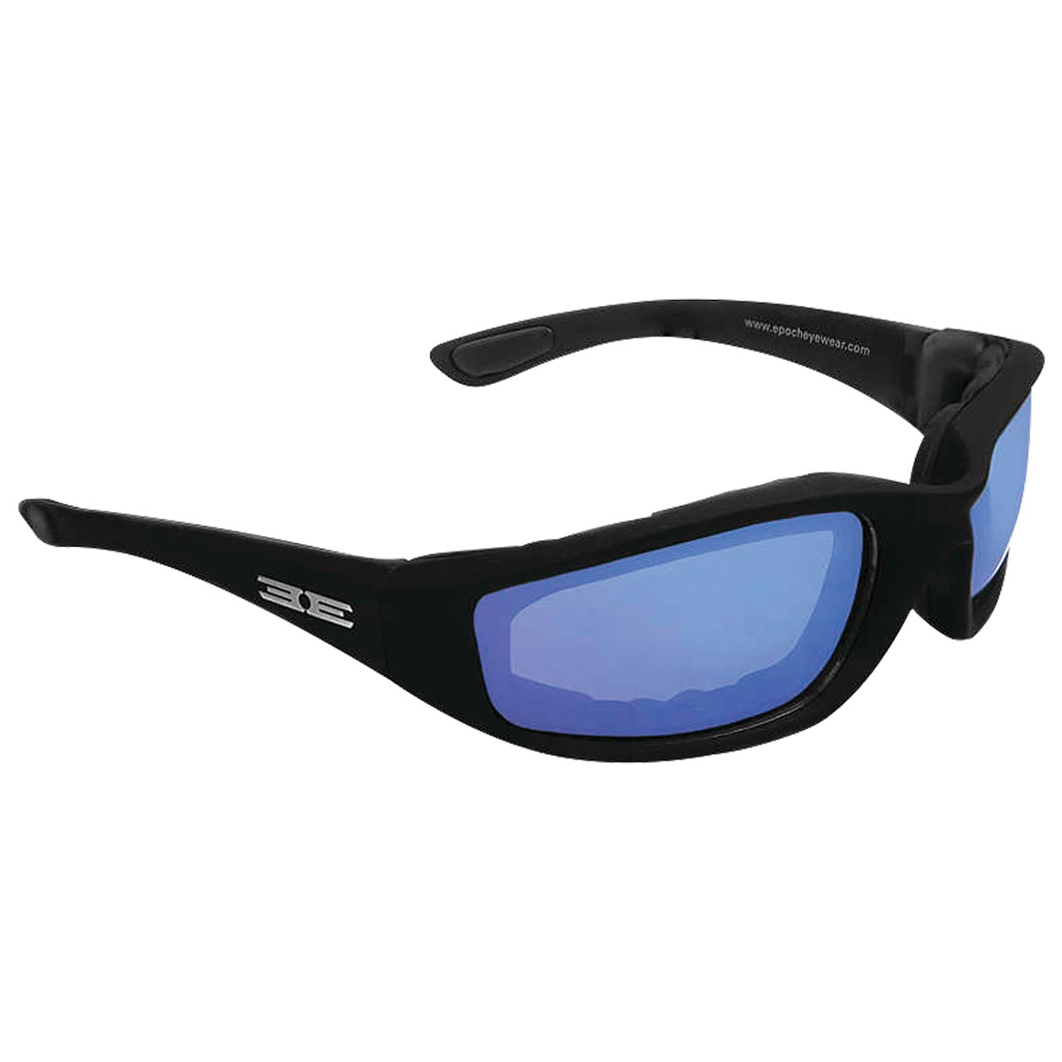 Epoch Eyewear Foam Black Sunglasses with Blue Mirror Lens