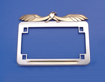 V-Twin Manufacturing Gold Flying Eagle License Plate Frame