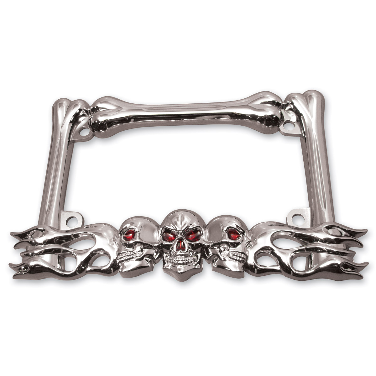 Milwaukee Twins Chrome Skull License Plate Frame | 305-089 | J&P Cycles