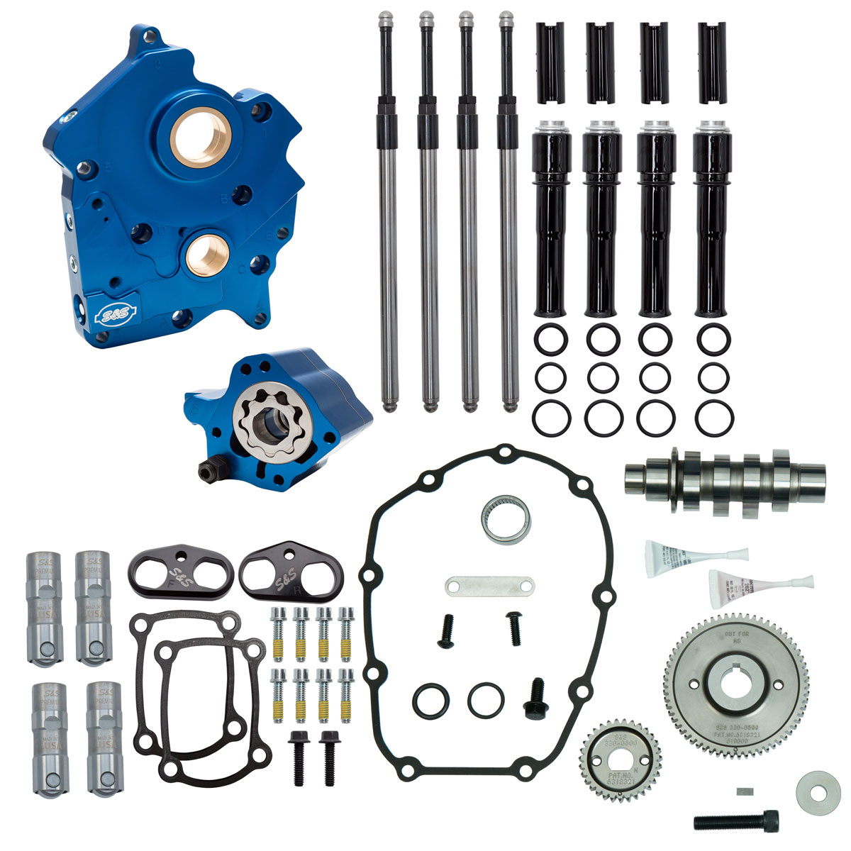 S&S Cycle 465G Gear Drive Cam Chest Kit with Black Pushrod Tubes