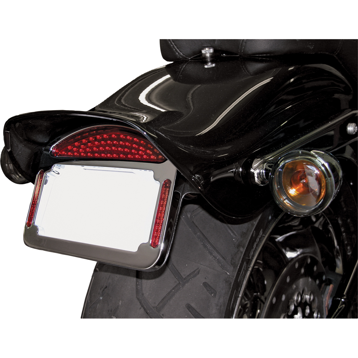 CycleVisions Eliminator Chrome LED Taillight/License Plate Frame ...